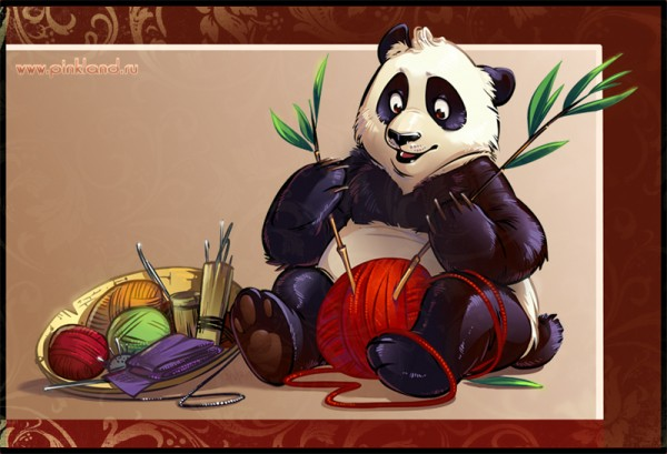 panda knitting bamboo details vector design artwork