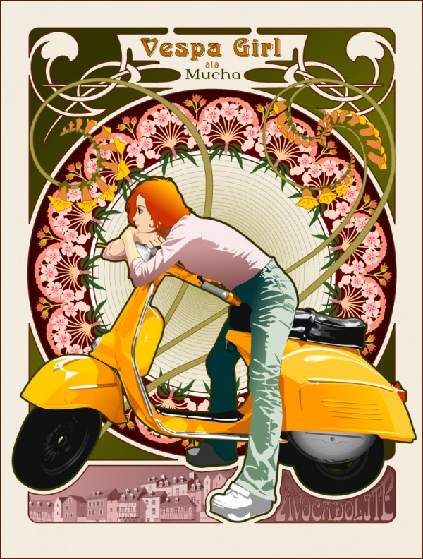 vespa girl ala mucha vector design artwork