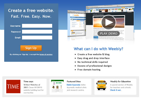 Screenshot of Weebly.com
