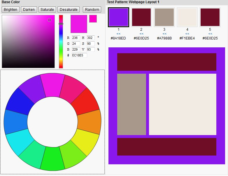 free color scheme tool for web designers