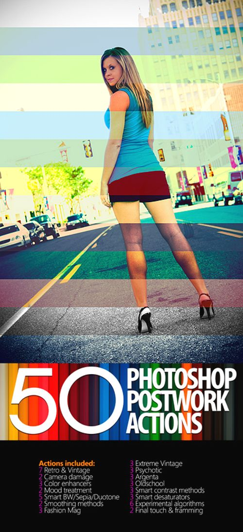 50 Photoshop Postwork Actions by manicho