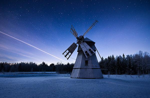 twilight stars and windmill