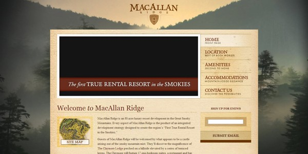 Macallan Ridge in the smoky mountains has a beautiful website