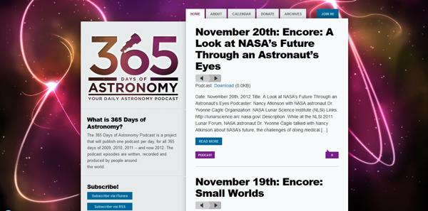 365 days of Astronomy website layout