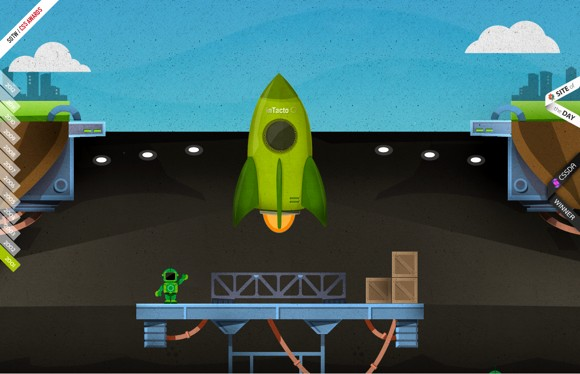 Parallax scrolling of rocket