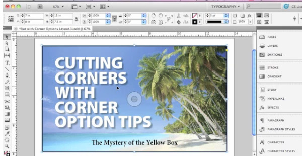 cutting corners in adobe in-design