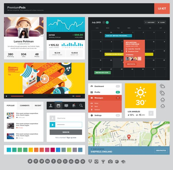 colorful flat interface