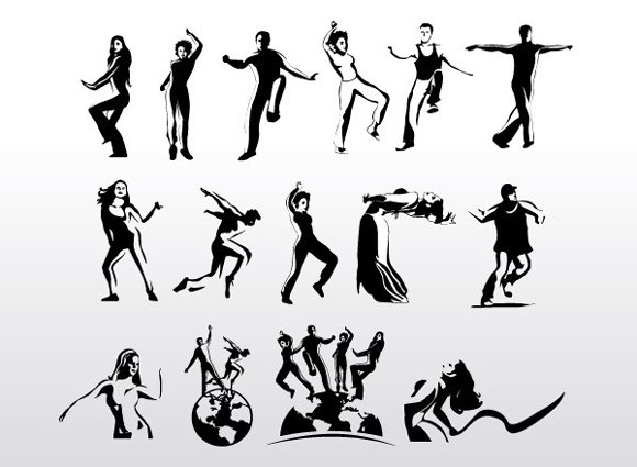 Aerobic Art Dancer Vector Silhouettes