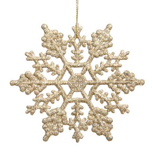 Club Pack of 24 Champagne Glitter Snowflake Christmas Ornaments 4
