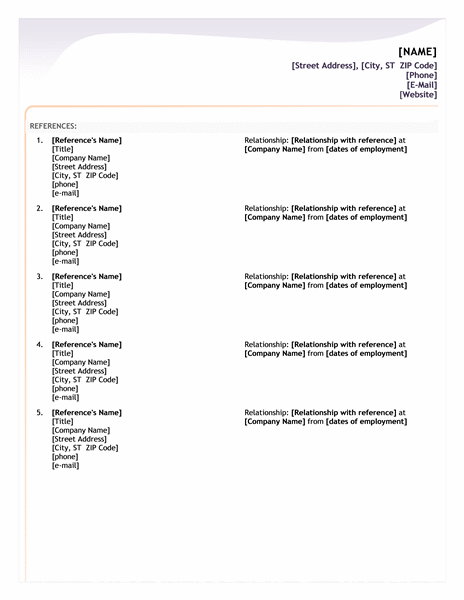 entry level resume reference sheet - Template For Resume