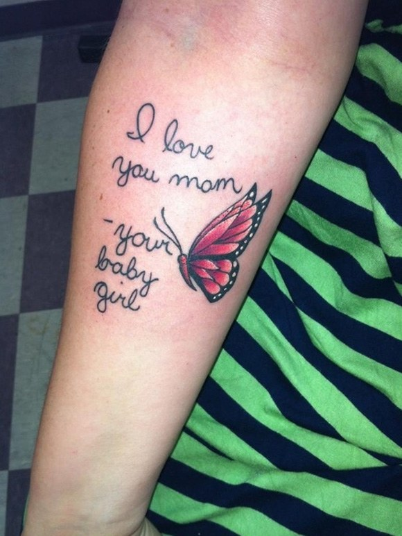 I love you mom, your baby girl, another cool memorial style tattoo