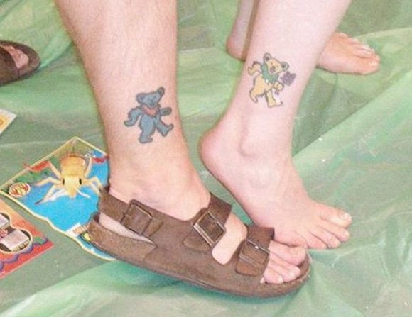 Beautiful foot tattoo for lovers