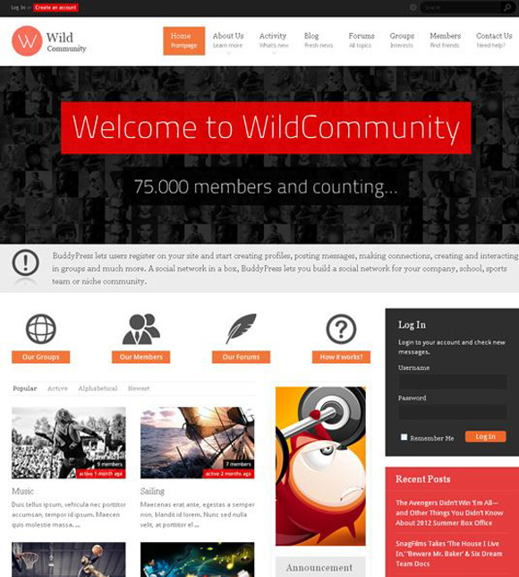 This is another attractive community BuddyPress and WordPress theme.