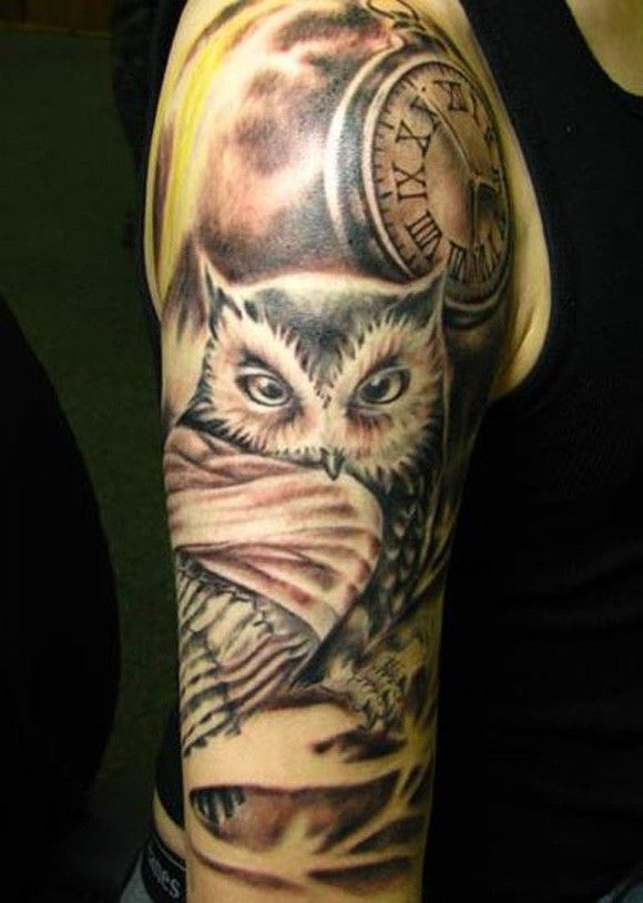 A very bold owl tattoo for men