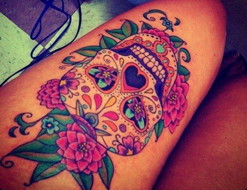 Mexican sugar skull tattoo Instagram style