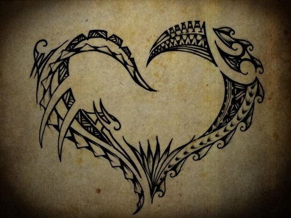 Polynesian heart tattoo
