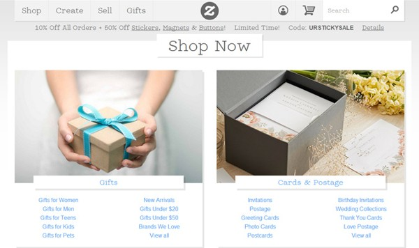 Zazzle shop is a great UX-based design