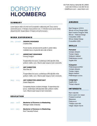 Free Microsoft Word Resume Templates For Download - One page resume template free