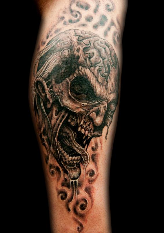zombie head tattoo