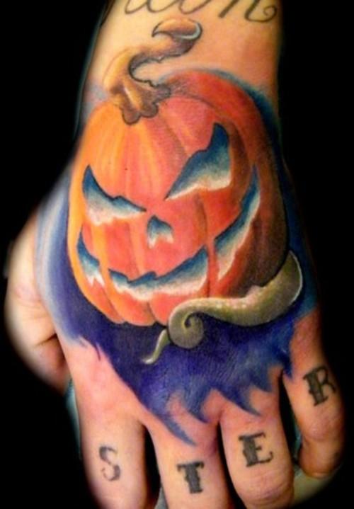 pumpkin monster tattoo